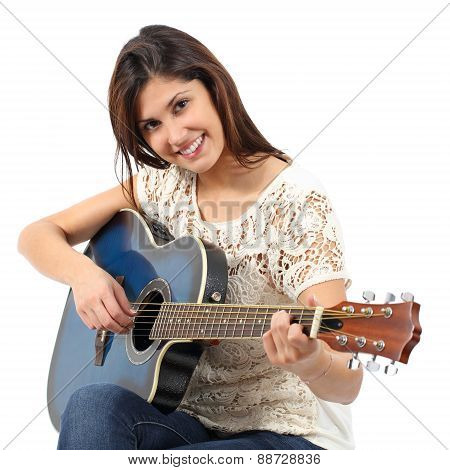 Musician Woman Playing Guitar In A Course