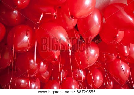 Red Ballons At Ceiling