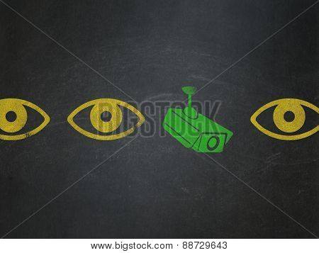 Security concept: cctv camera icon on School Board background