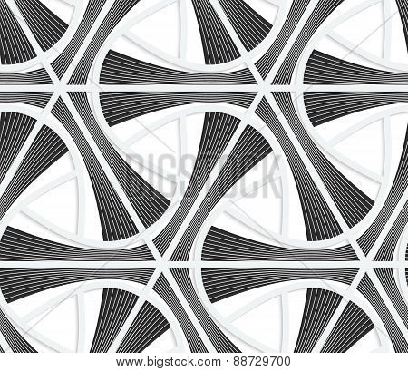 3D Colored Gray Striped Triangular Grid