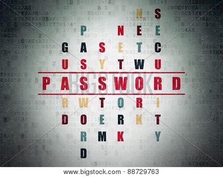 Security concept: word Password in solving Crossword Puzzle