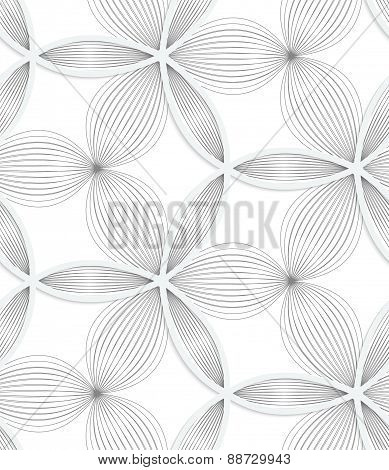 3D White Circle Grid And Striped Flowers