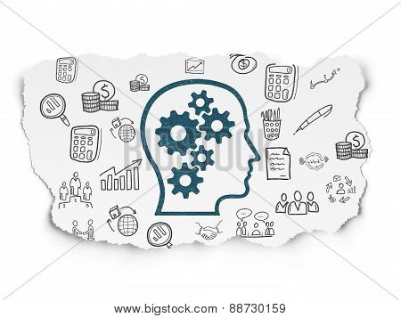 Business concept: Head With Gears on Torn Paper background