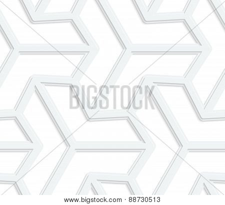 3D White Three Ray Hexagonal Stars