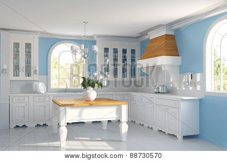 Clean empty Kitchen with blue walls in a house (3D Rendering)