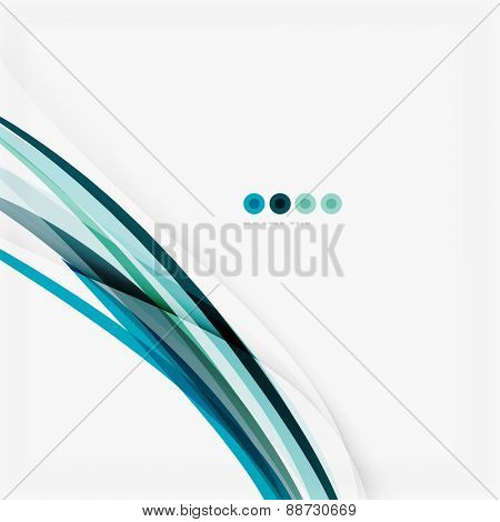 Blue wave abstract background, lines on white template