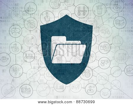 Business concept: Folder With Shield on Digital Paper background