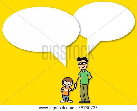 Communication in the family between father and son with big white speech bubbles