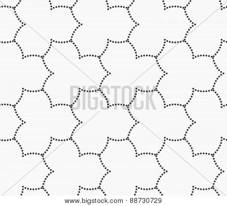 Gray Dotted Three Pedal Pointy Flower Grid