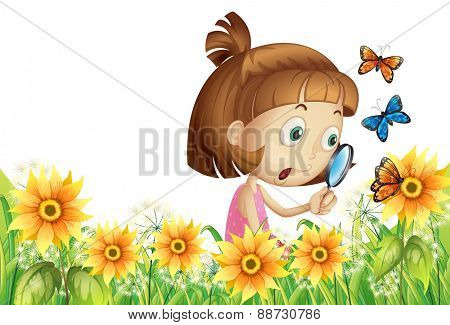 Girl looking at flower and butterfly