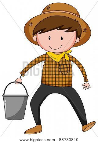 Close up farmer holding a bucket