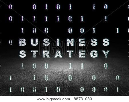 Finance concept: Business Strategy in grunge dark room