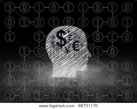 Finance concept: Head With Finance Symbol in grunge dark room