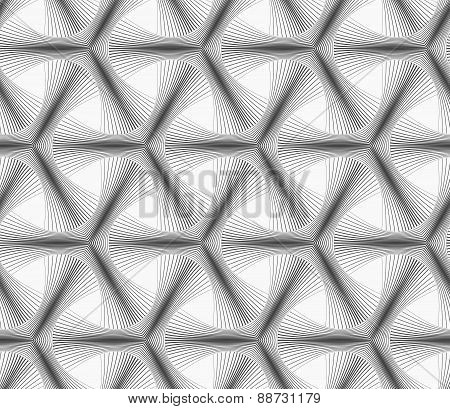 Monochrome Halftone Striped Tetrapods
