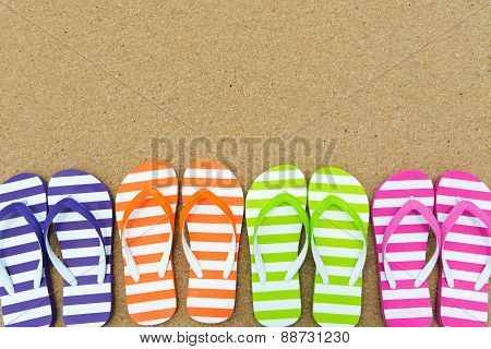 Multicolor Sandals On Beach