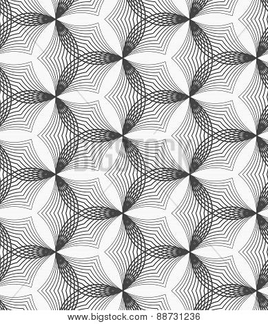 Monochrome Linear Striped Puckered Hexagons