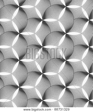 Monochrome Striped Puckered Hexagons