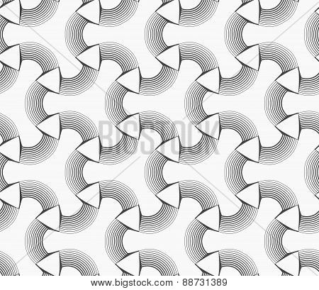 Monochrome White Tetrapods With Striped Rounded Corners