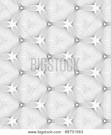 Slim Gray Small Hatched Trefoils Forming Stars