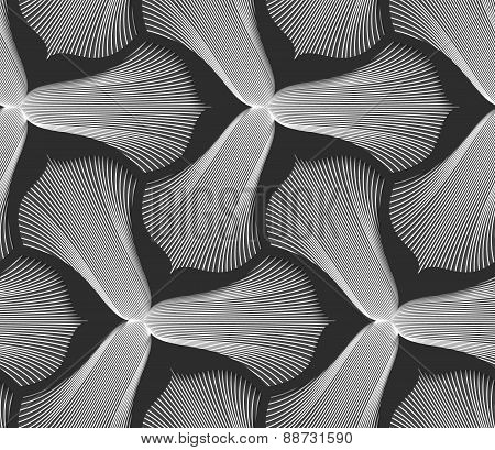 Slim Gray Striped Trefoil Flower With Black Bevel