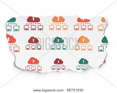 Cloud computing concept: Cloud Network icons on Torn Paper