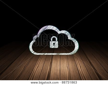 Cloud computing concept: Cloud With Padlock in grunge dark room