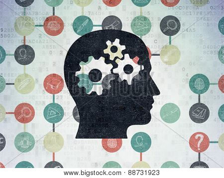 Education concept: Head With Gears on Digital Paper background