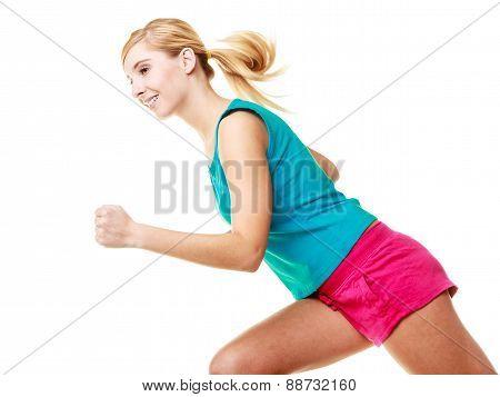 Fitness Blonde Girl Running.