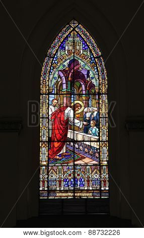 Church Detail Of Stained Glass Window