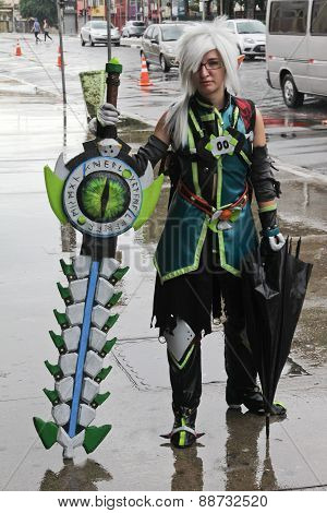 Cosplay With Traditional Costumes On The Street