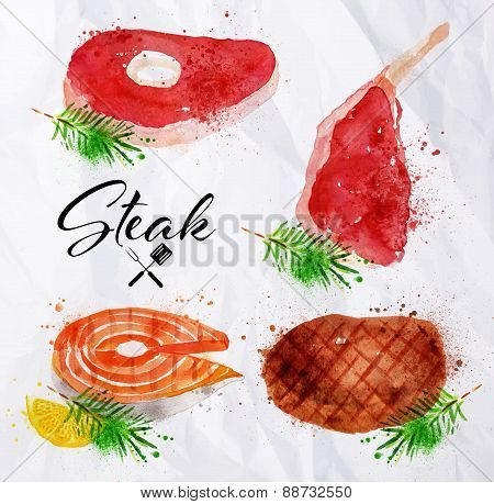 Set steak watercolor