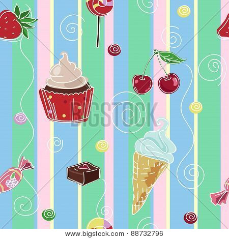 Seamless background with sweets and cupcake