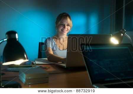 Happy Woman Interior Designer Working On Pc Late At Night