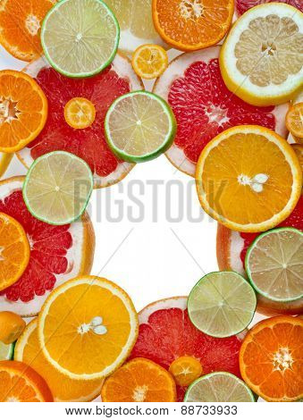 frame of slices citrus top view colorful surface  isolated on white background