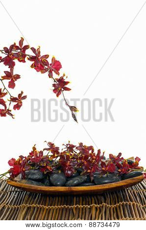 Red branch orchid with stones in bowl on mat