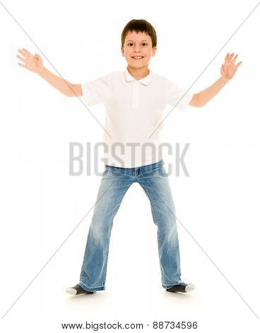 boy gesturing on white