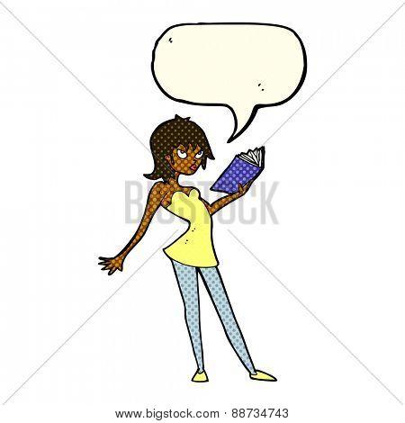 cartoon woman reading book with speech bubble