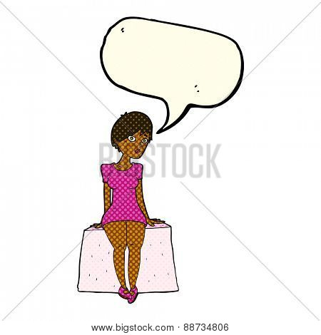 cartoon curious woman sitting with speech bubble