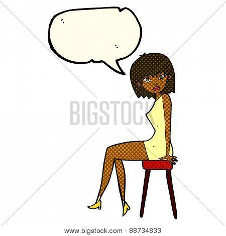 cartoon woman sitting on stool with speech bubble