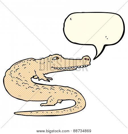 cartoon alligator with speech bubble