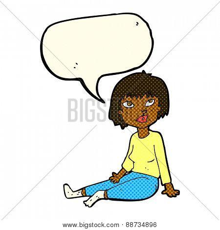 cartoon woman sitting on floor with speech bubble