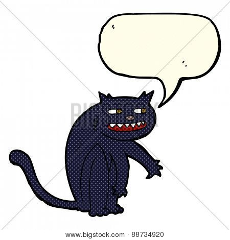 cartoon black cat with speech bubble