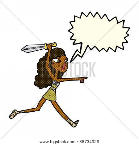 cartoon girl with sword with speech bubble