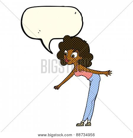 cartoon woman reaching to pick something up with speech bubble