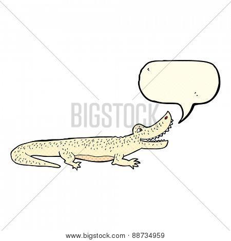 cartoon happy crocodile with speech bubble