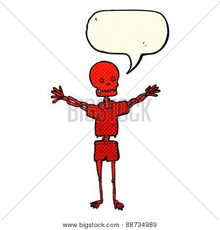 cartoon skeleton in clothes with speech bubble