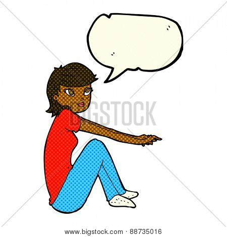cartoon pretty girl sitting with speech bubble