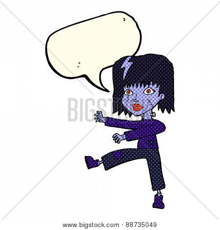 cartoon undead girl with speech bubble