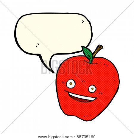 cartoon happy apple with speech bubble