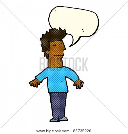 cartoon stressed man with speech bubble